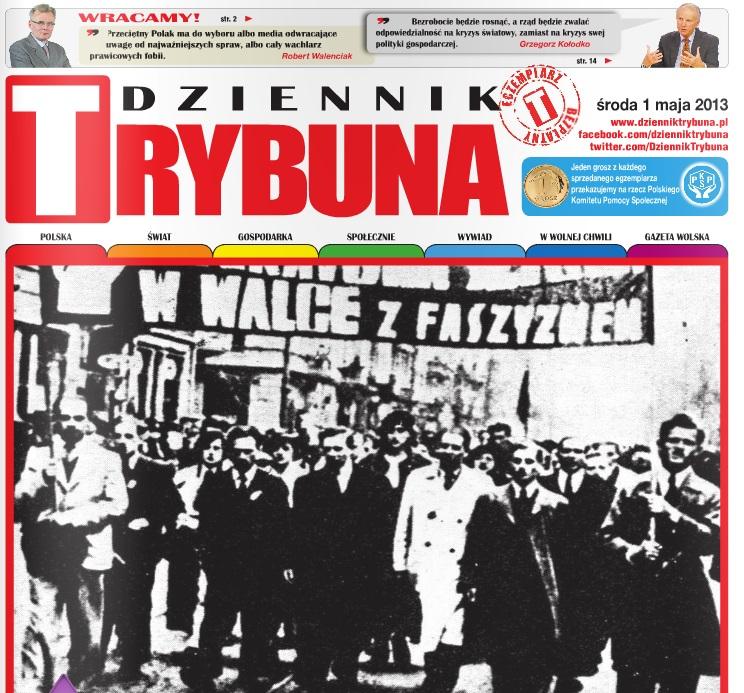 Pierwsza strona Dziennika Trybuna