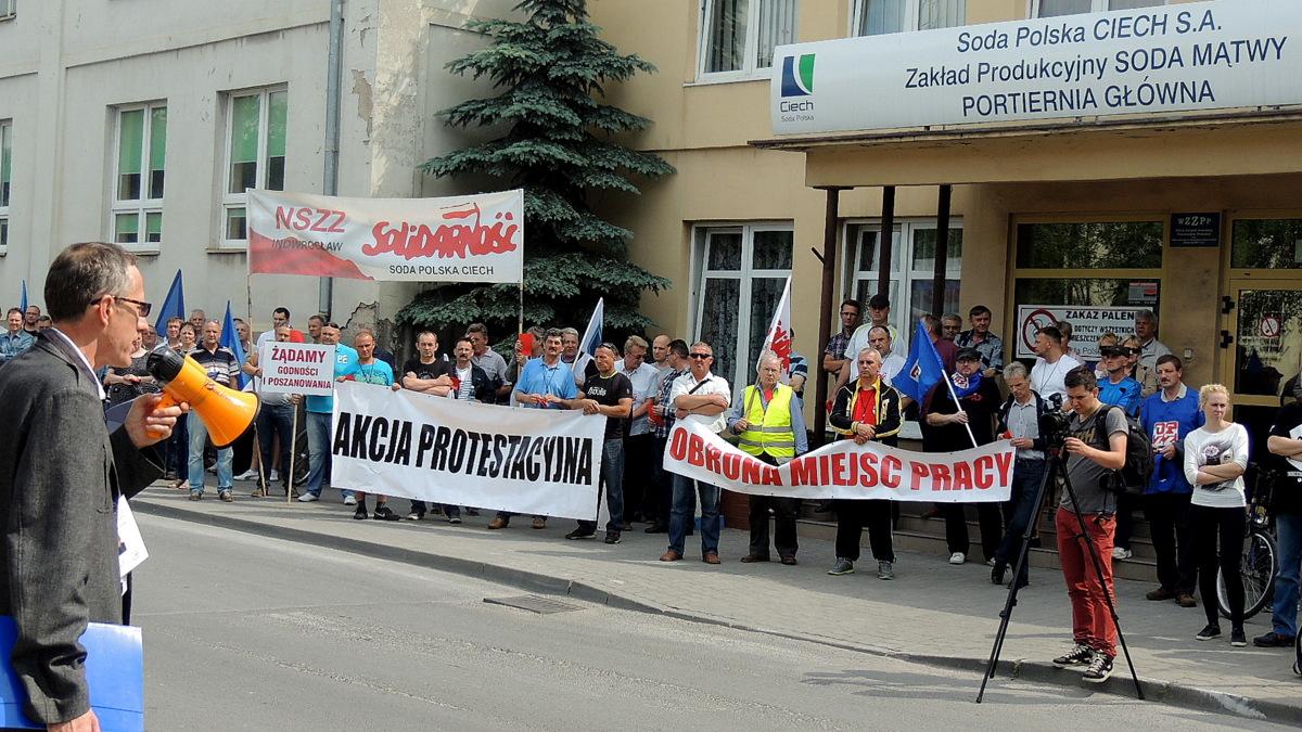 17.06.2014 Soda Polska Ciech S.A. Protest przeciw zwolnieniom