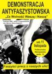 Plakat - demonstracja antyfaszystowska - 11 listopada