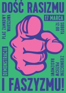 plakat - demonstracja amntyrasistowska w Warszawie 17 marca