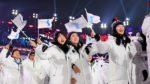 09.02.18 Pjongczang. Sportowcy z Korei Południowej i Północnej razem podczas ceremonii otwarcia zimowych igrzysk olimpijskich.