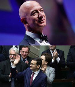 Najbogatszy człowiek świata Jeff Bezos i jego wielbiciel Mateusz Morawiecki.  W 2017 r. majątek założyciela i szefa firmy Amazon przekroczył 100 mld dolarów.  Wyzyskuje on pracowników także w Polsce.