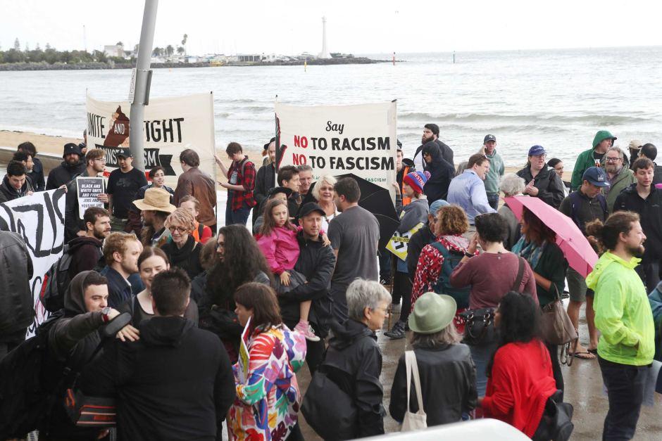 05.01.19 Melbourne. Demonstracja przeciw skrajnej prawicy.