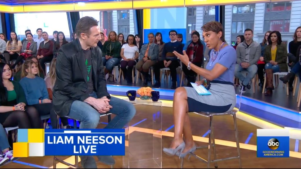 05.02.19 Liam Neeson próbuje się tłumaczyć w rozmowie z Robin Roberts w amerykańskim kanale ABC.