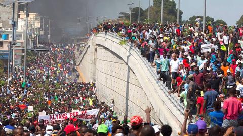 07.02.19 Port-au-Prince, Haiti. Masowy protest żądający dymisji  prezydenta Jovenela Moise'a.