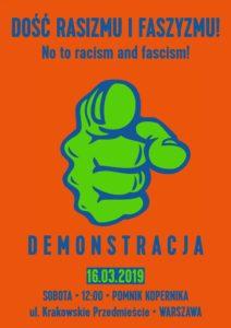 Plakat - demonstracja antyrasistowska w Warszawie - 16 marca 2019 r.
