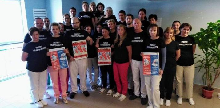 Protest fizjoterapeutów ze słupskiego szpitala.
