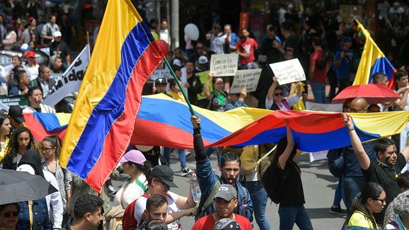21.11.19 Bogota. Demonstracja w czasie strajku.