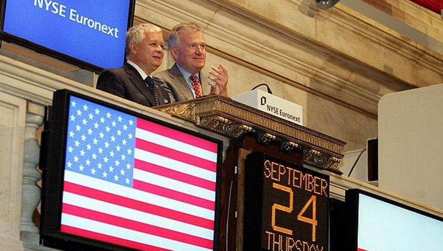 24.09.09 Prezydent Lech Kaczyński otwiera sesję nowojorskiej giełdy.