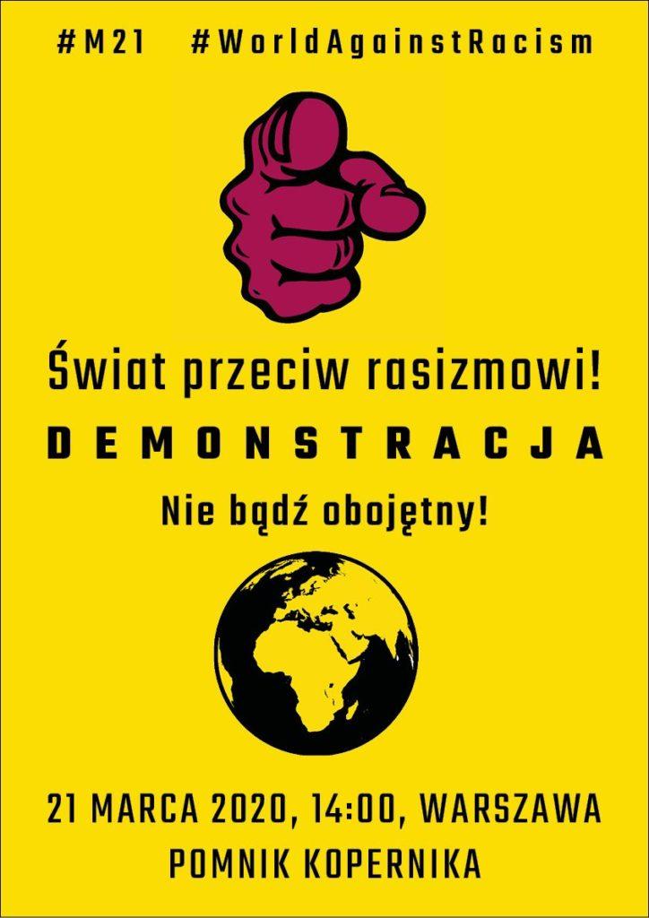 Plakat na demonstracje antyrasistowską 21 marca.