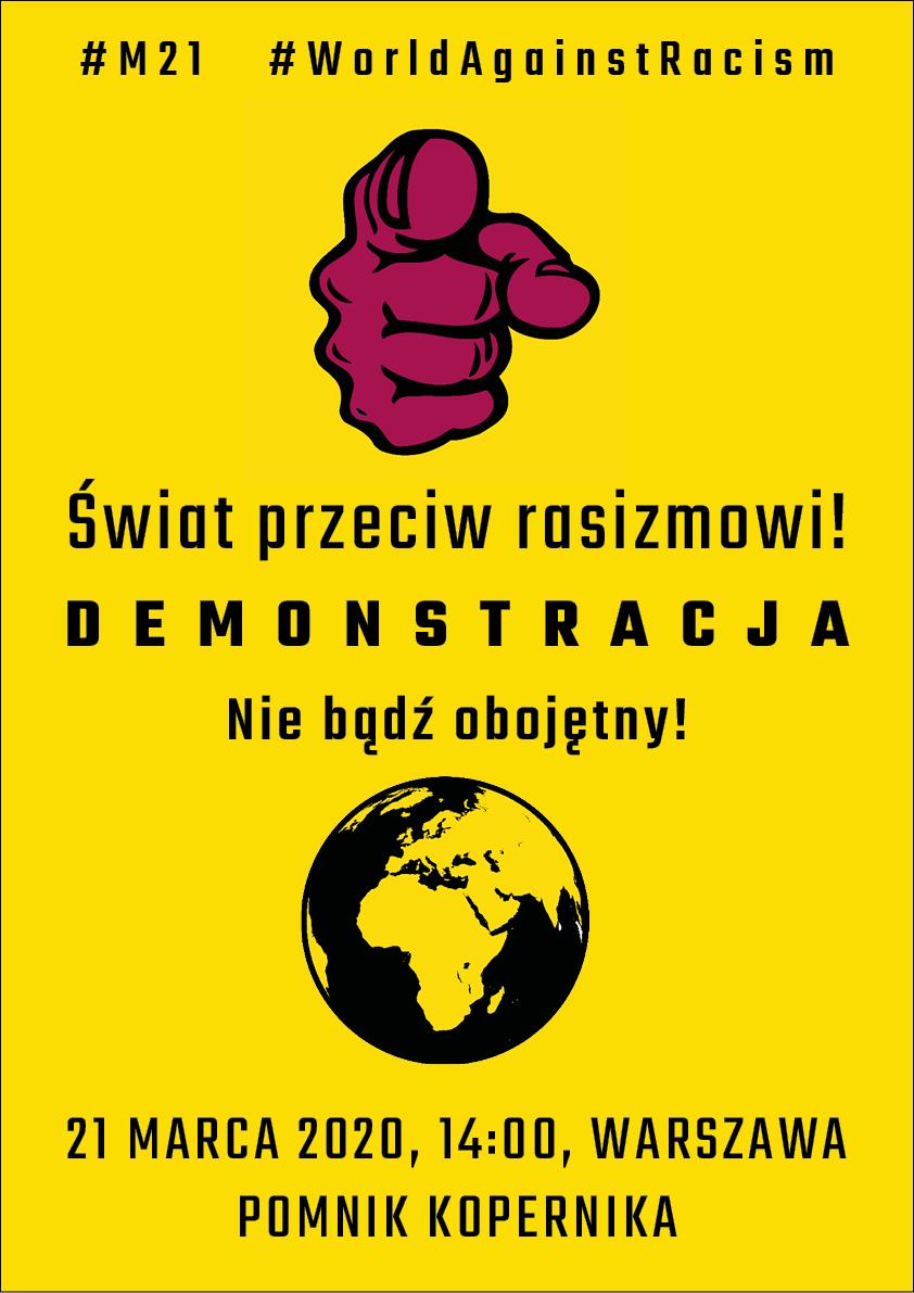 Plakat - demonstracja antyrasistowska 21 marca 2020