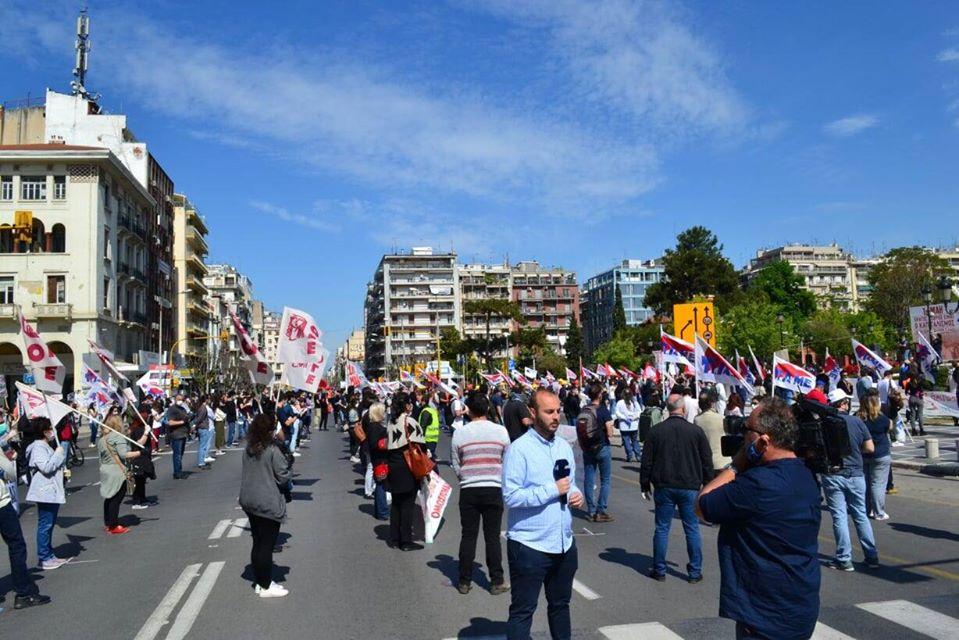1 Maja w Salonikach.