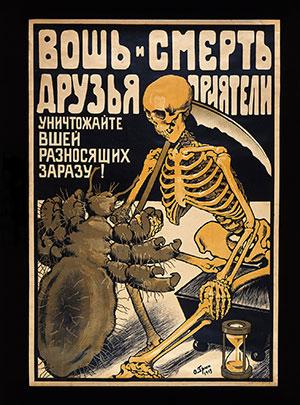 """""""Wesz i śmierć są przyjaciółmi i towarzyszami"""" – plakat z 1919 roku."""