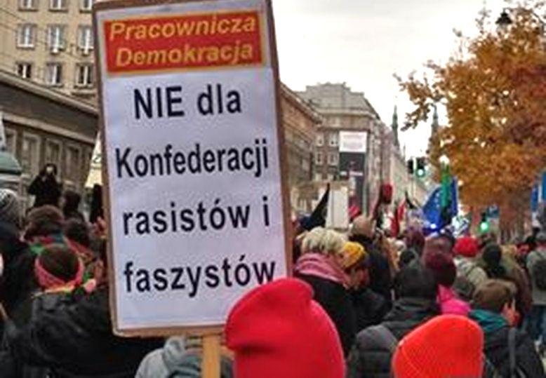 Warszawa 11.11.19. Demonstracja przeciw tzw. Marszowi Niepodległości.