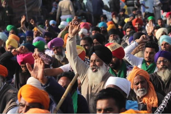 Protestujący rolnicy w Indiach