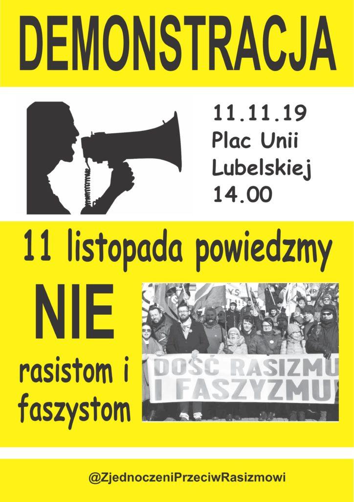 Plakat. Demonstracja antyfaszystowska 11.11.2019