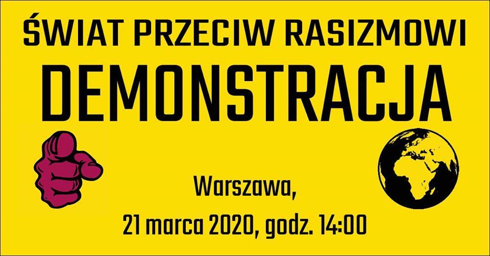 Demonstracja antyrasistowska 21 marca 2020