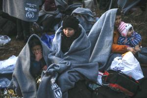 Uchodźcy na granicy Turcji i Grecji.
