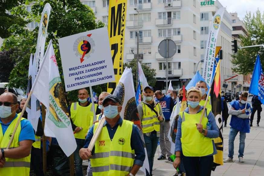 28.08.2020 Warszawa. Demonstracja górników.