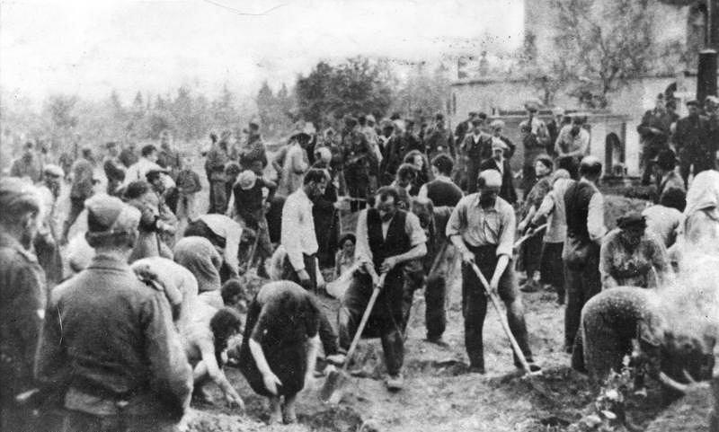 05.07.1941 Żydzi zmuszeni do kopania grobów, Zborów, dzisiejsza Ukraina.