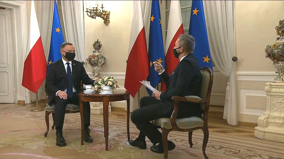Prezydent Andrzej Duda na antenie TVN24