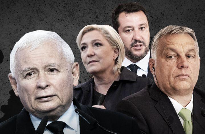 """2 lipca Kaczyński i liderzy 16 rasistowskich i faszystowskich partii podpisali deklarację przeciw """"rewolucji kulturalnej"""" w Europie. Ten sojusz ma wzmocnić rasizm i nienawiść dla praw kobiet i osób LGBT+. Na zdjęciu: Kaczyński, faszystka Marie Le Pen (Francja), skrajny rasista Matteo Salvini (Włochy), Viktor Orbán (Węgry). Wśród sygnatariuszy znajdują się również liderzy takich partii, jak faszystowscy Bracia Włosi i skrajnie prawicowy VOX z Hiszpanii."""