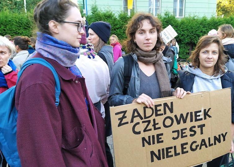 01.10.21 Warszawa. Protest przed siedzibą Straży Granicznej.